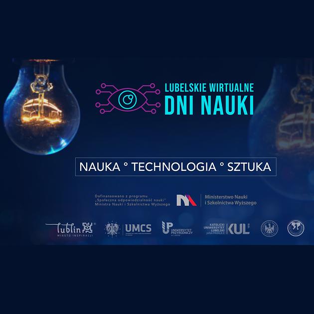 Grafika promująca Lubelskie Wirtualne Dni Nauki.