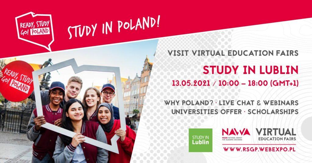 Plakat promujący edukacyjne targi online Study in Lublin.