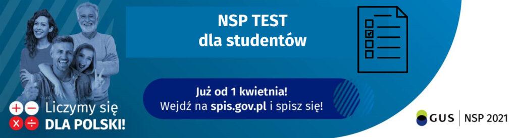 Plakat promujący Konkurs NSP TEST dla studentów