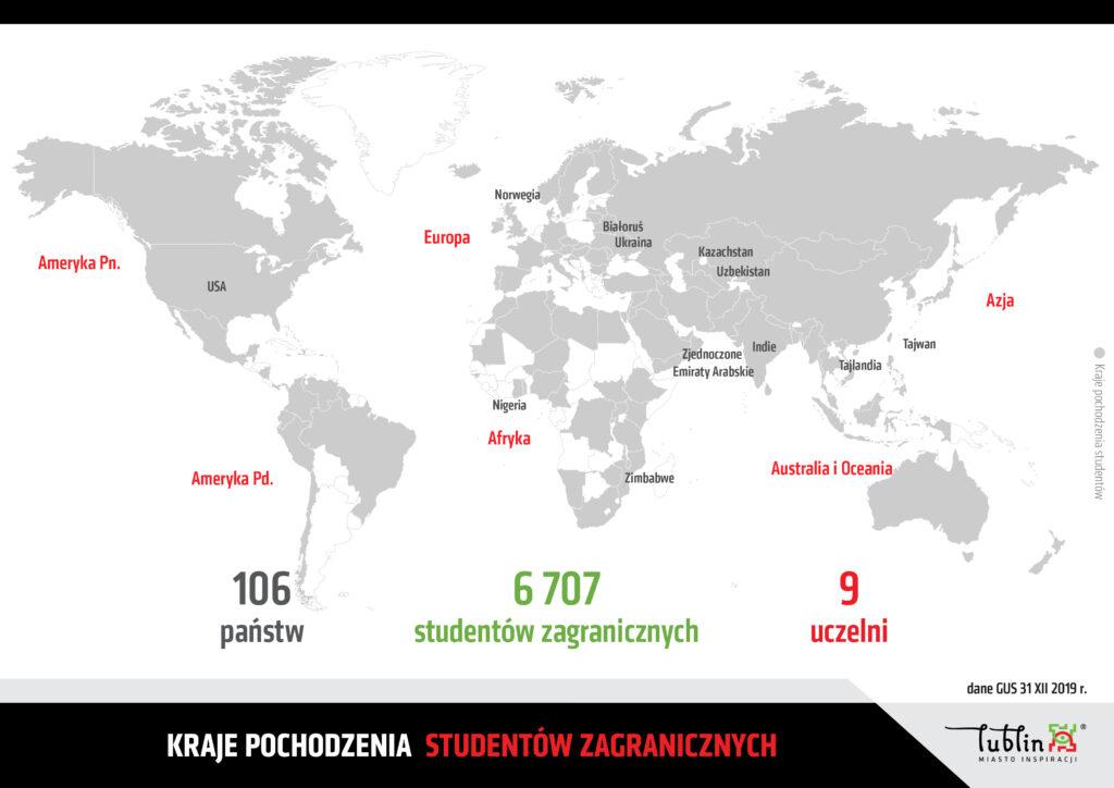 Grafika przedstawiająca dane dotyczące studentów zagranicznych wLublinie. Liczba studentów zagranicznych 6 707, ze106 państw.